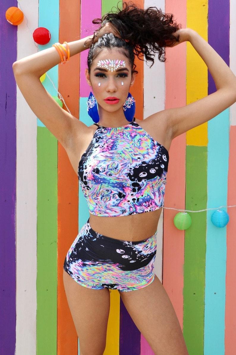 Festival vêtements rave tenue acide fluo Halter Top, Raver maillot de bain,  Halter Crop Top, UV réactif Festival tenue femmes taille haute court