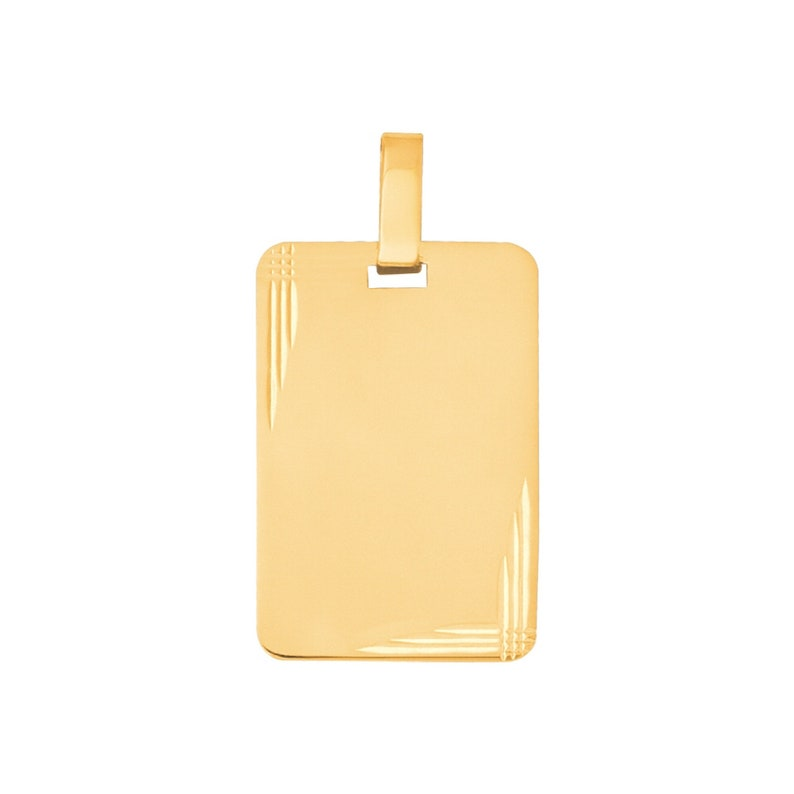 Rectangle Solid Gold pendant 18k 750/% with gift box