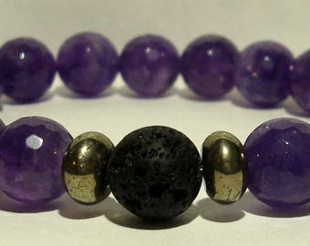Beautiful amethyst pyrite lava bead diffuser bracelet *USE w ESSENTIAL OILS* 20 beads