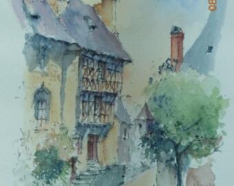 """Watercolor on paper arches village """"Ségur Castle"""""""