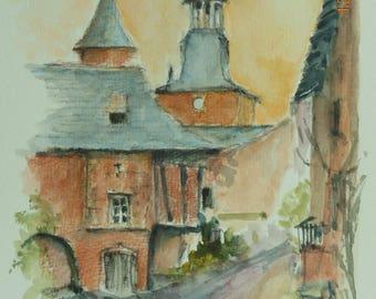 COLLONGES LA red watercolor on paper
