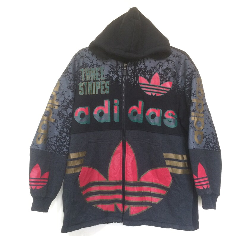 c5c6d7febe974 Vintage Rare!!! 80/90's Adidas Big Logo 3 Stripes Run DMC Hiphop Gangsta  Warm Pullover Hoodie Jacket Adult L.