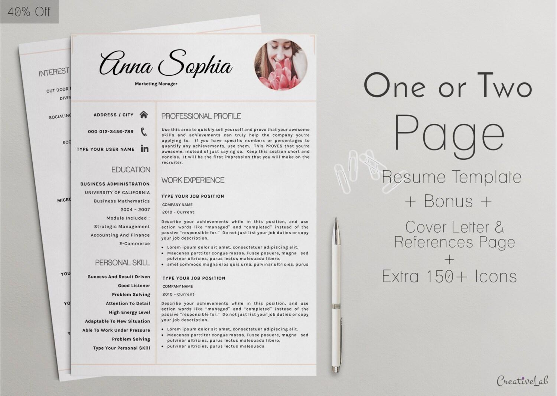 Volver a diseño de plantilla CV carta Reference | Etsy