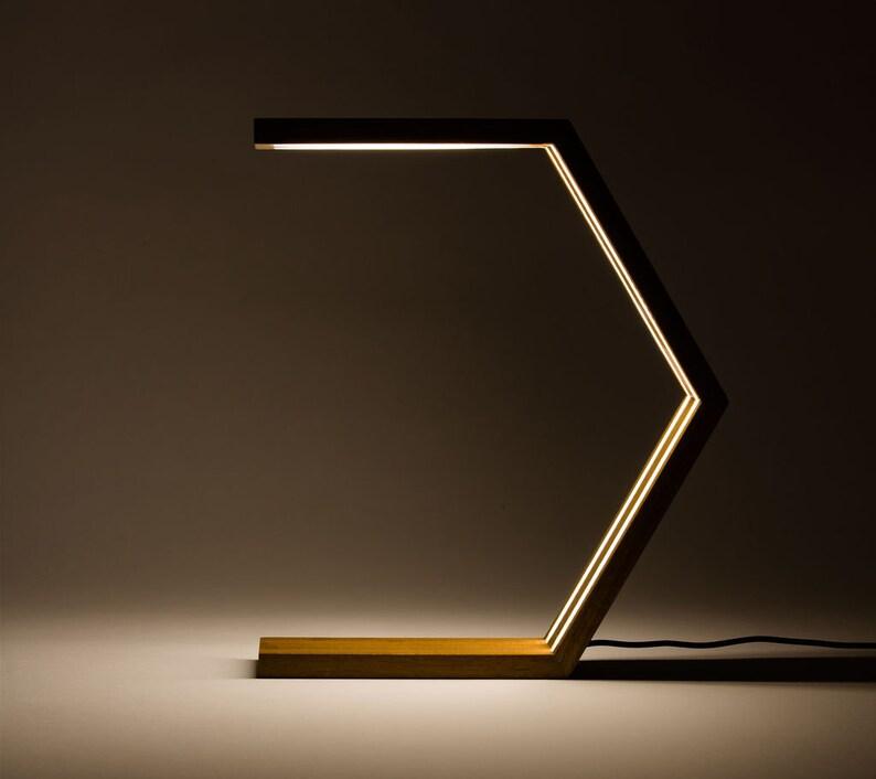 Hexagon Lamp Wood Desk Lamp Bedroom Lamp Bedside Lamp Etsy
