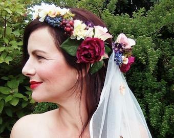 Bridal Flower Crown and Flower Veil