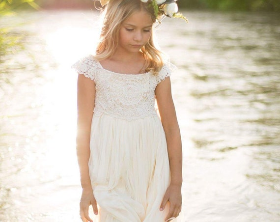 Ivory Flower girl dress, Ivory Cream Tulle Boho Flower Girl Dress, Ivory Tan Rustic Flower Girl Dress, Floor Length Rustic Flower Girl Dress