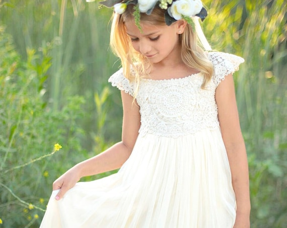 Floor Length Crochet Flower girl dress, Ivory Cream Tulle Crochet Flower Girl Dress, Ivory Tan Rustic Flower Girl Dress, Rustic Flower Girl