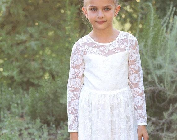 IVORY Lace Flower girl dress, BURGUNDY Boho flower girl dress, BLACK Rustic flower girl dress,Burgundy Lace dress,Bohemian Flower girl dress