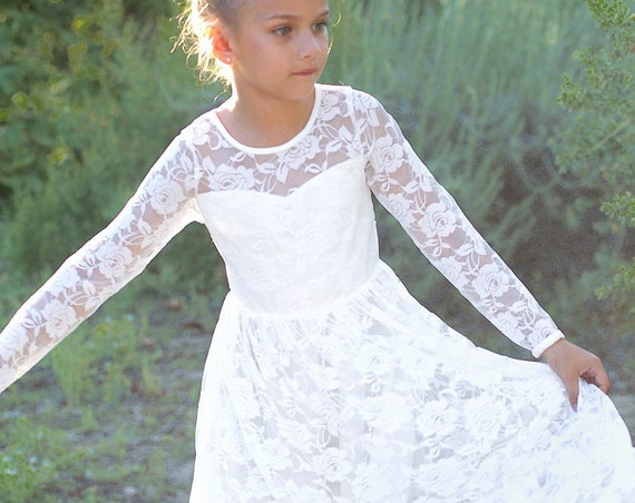 Lace Flower girl dress, Long sleeve Boho flower girl dress, Ivory Rustic flower girl dress, Ivory Lace Girl dress,Bohemian Flower girl dress