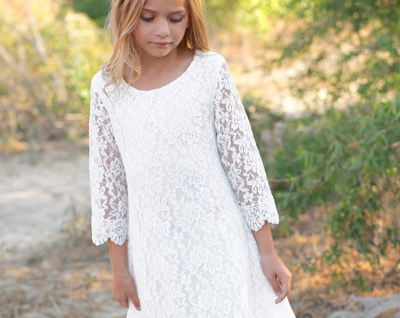 Flower girl dress, White Lace flower girl dress,Bohemian lace dress,Tea Length Lace dress, Boho flower girl dress,Country Rustic flower girl