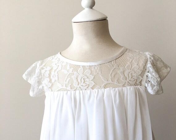 Ivory Lace flower girl dress,Bohemian Boho Flower girl,White Chiffon Girls Dress,Champagne Lace flower girl dress,Communion dress, Léa Dress