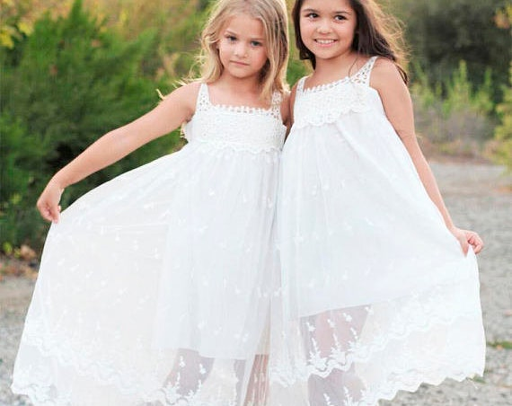 Bohemian Flower Girl Dress, Boho Flower Girl dress, White Lace Flower girl dress, Beach Boho Flower girl dress, Lace dress Junior Bridesmaid