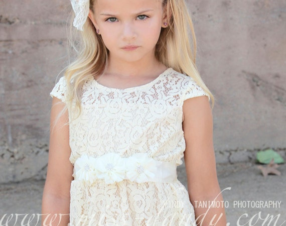 Champagne Ivory Rustic Flower Girl Dress, Ivory Lace Flower Girl Dress, Lace Baby Dress, Country Ivory Flower Girl, Junior Bridesmaid Dress