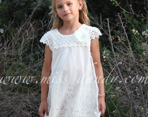 Lace Flower Girl Dress, Ivory / Champagne Boho Bohemian Flower girl, Crochet Country Wedding dress, Vintage Rustic Flower Girl dre,Ivy Dress
