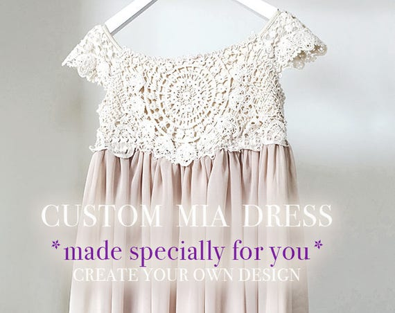 Custom Made Mia Flower Girl Dress, Flower Girl Lace Dress, Rustic Flower Girl,Crochet Flower Girl, Boho Flower Girl,Ivory Flower Girl Dress