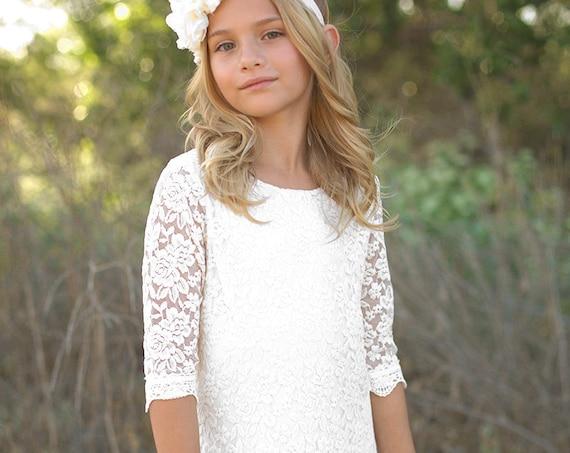 Flower girl dress, Lace flower girl dress, Bohemian lace dress, Rustic Lace dress, White Boho flower girl dress, Ivory Rustic flower girl