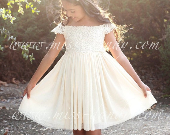 Ivory Girls Dress, Ivory Girl Dress, Ivory Flower girl,Ivory Lace dress, Ivory crochet dress,Princess Dress,First Communion Dress- Mia Dress