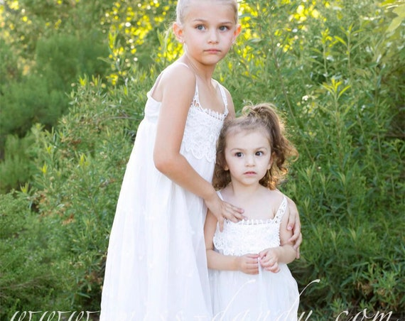 Flower Girl Dress,Flower Girl Lace Dress, White Lace Girl Dress, Lace Girl dress, White Bohemian Flower girl, Boho Flower Girl Dress Crochet