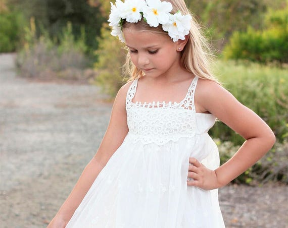 Beach flower girl dress, Bohemian Boho flower girl dress, Ivory / White flower girl dress,Rustic Flower Girl Dress,Country Flower Girl Dress