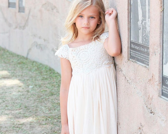 Ivory Cream flower girl dress, Crochet Lace baby dress, Rustic flower girl dress, Country flower girl dress, Lace girls dresses, Flower girl