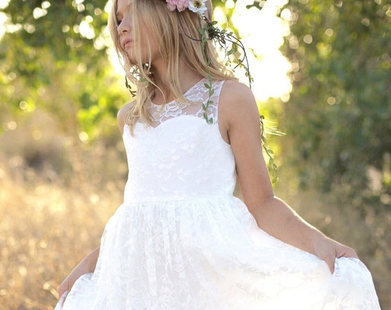 Flower Girl Dress, Flower girl dresses,White lace dress,country flower girl,rustic flower girl, communion dress, Open Back Flower Girl Dress