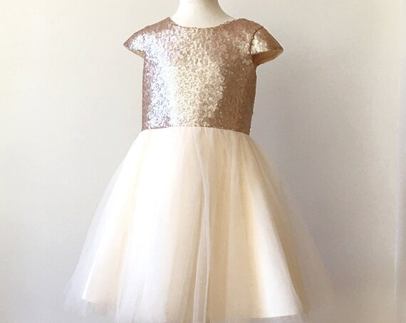 Sequins Flower girl dress, Cap Sleeve Sequins flower girl dress, Gold sequins flower girl dress, Gold Sequins tulle dress, Junior Bridesmaid