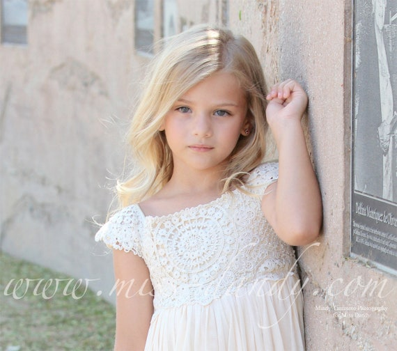 Rustic Flower Girl Dress,Boho Lace Crochet Flower Girl Dress, Rustic Beige/Cream Bohemian Flower girl Dress, Rustic flower girl, Mia Dress
