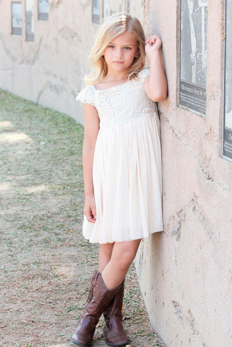 Ivory Cream Flower Girl Dress Crochet Lace Baby Dress Rustic Flower Girl Dress Country Flower Girl Dress Lace Girls Dresses Flower Girl