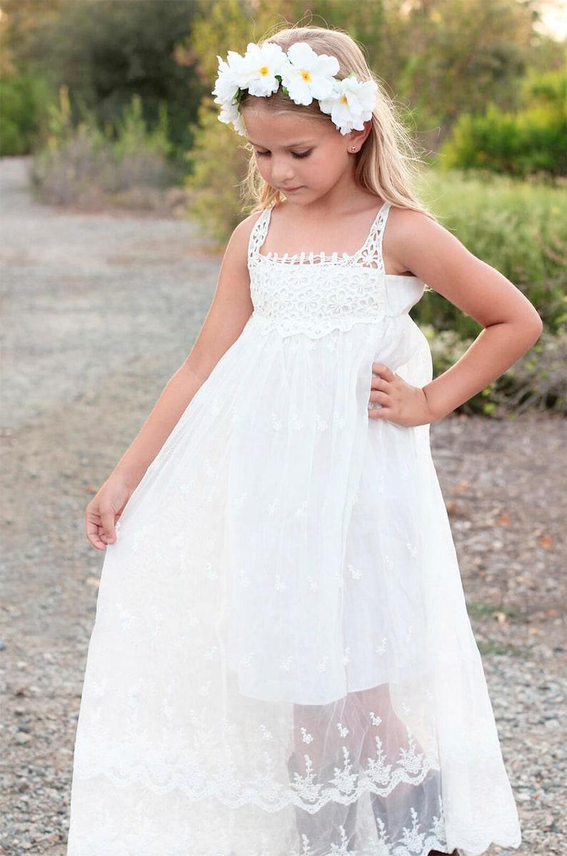 Beach Flower Girl Dress Bohemian Boho Flower Girl Dress Etsy