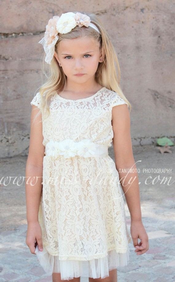 d2346f7fad477 Champagne Ivory Rustic Flower Girl Dress Ivory Cream Lace | Etsy