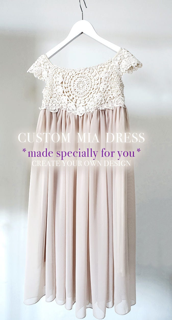 Custom Made Mia Flower Girl Dress Flower Girl Lace Dress Rustic