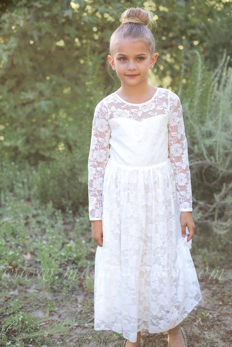 673bc3ec0 IVORY Lace Flower girl dress BURGUNDY Boho flower girl dress | Etsy