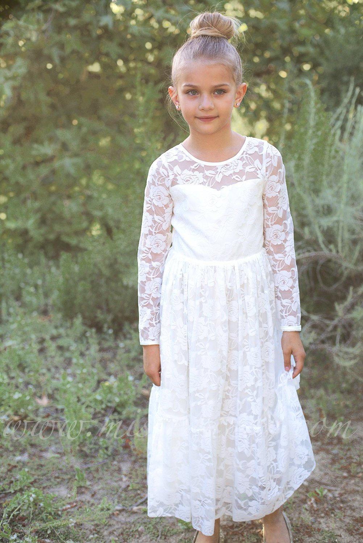 23c353c3b IVORY Lace Flower girl dress BURGUNDY Boho flower girl dress | Etsy