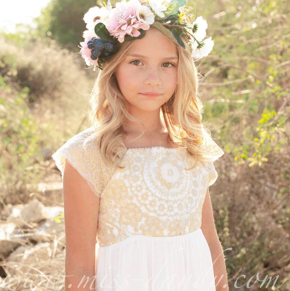 Rustic Flower Girl dress, Boho Gold Embroidery Crochet Flower Girl Dress, White Bohemian Boho Floor girl girls Dress,Lace Crochet Girl Dress