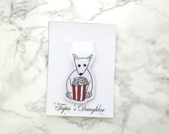 Fox holding popcorn magnet, for traveler's notebooks, cute bookmark, laminated,