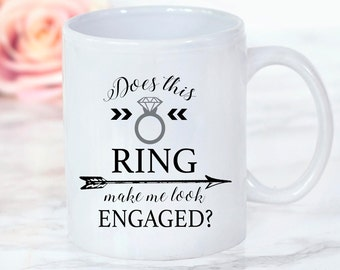 One Single (1) Ceramic engagement mug, does this ring, ring mug, bridal mug, bridesmaid gift, bride mug, bride gift, funny mug, wedding