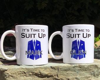 Groomsman, Best Man, Groom's Coffee Mug, It's time to suit up, Groomsman gift, Best man Gift, Customizable Mug, Groomsman Gift, Best man