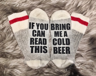 Beer Socks, Custom Sock, Bring a me glass of wine, If you can read this, Valentines Gifts, Valentines Day, Funny gifts, Xmas socks