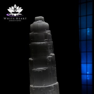 16 Extra Large Double Tower Selenite Crystal Lamp Free Shipping Cord Clip LED Bulb With Black Walnut Base
