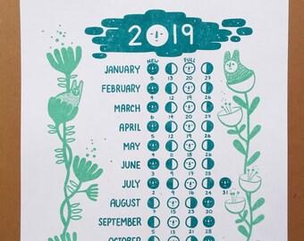2019 moon calendar | Etsy