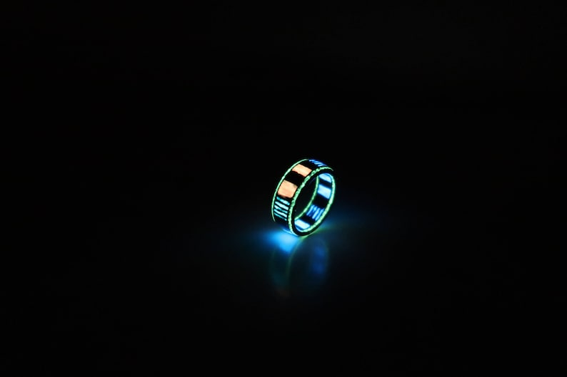 Carbon Fiber Ring unique ring glowing in many colors, width about 8mm,  polished finish