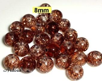 1683 50 Coloré Mélangé 10 mm perles de verre Crash Crackle Crack Verre Perles Beads