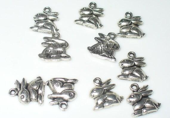 Großverkauf Antiksilber Ostern Hase Anhänger Perlen Beads 15x13mm