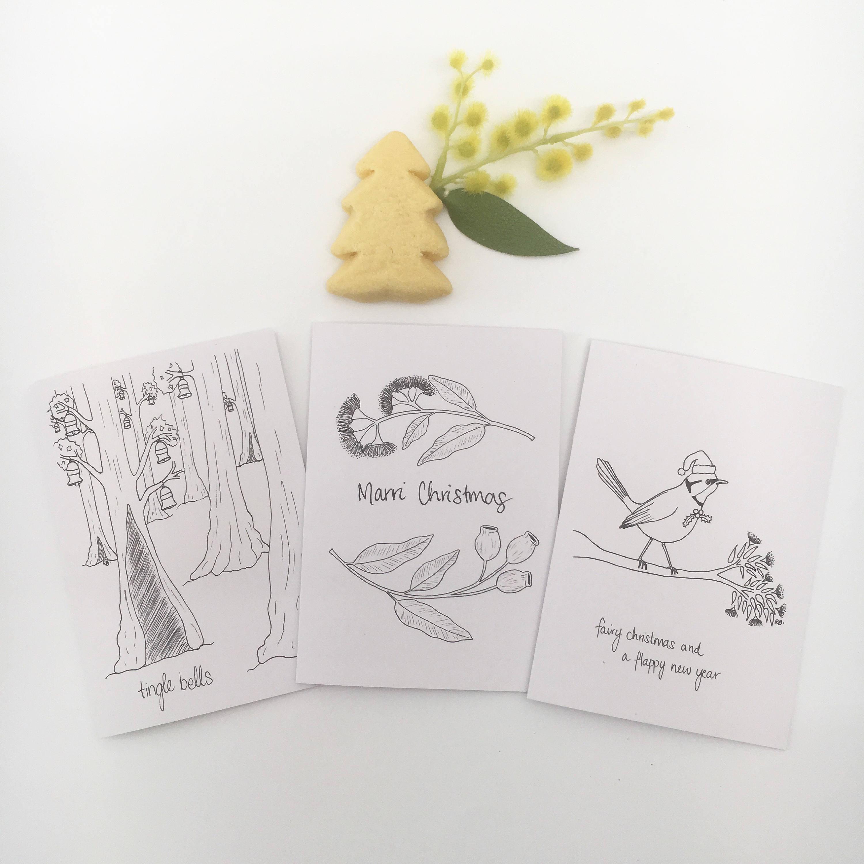 Choose 4 Unique Illustration Cards Australian Christmas Pun Colour In Cards Australia Christmas Card Funny Card Animal Greeting Card