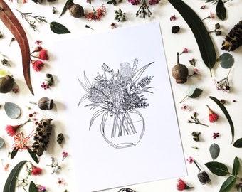 Australian Wildflower Bouquet gumdots A4 / A5 print ; handdrawn illustration Australia wildflower eucalyptus flower posy modern Australiana
