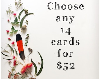 Choose your own 14 cards gumdots greeting card bundle; 14 unique cards, Australia birthday card thank you card all occasions colour in card