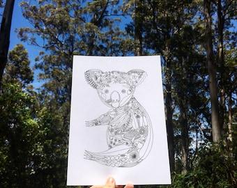 Koala Out Of Natives A4/A5- Australiana illustration print, Australian fauna & flora series, unique fineliner drawing, bushfire donation