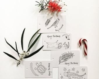 Australia Bush Christmas Gift Tags 5 pack; print of unique illustration Australia Bush card colour in swing tag (turtle parrot flower shark)
