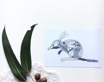 Bilby Out of Natives A6 print of unique fineliner illustration, gumdots Australian animal wall art (Easter Bilby artwork, easter gift)