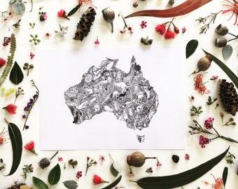 Great Southern Land Illustrated Map Australia A4 / A5 unique map illustration print; Australia souvenir drawing wall art koala eucalyptus